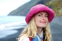 Woman in Stromboli beach, Sicily, Italy