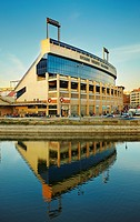 Vicente Calderon Stadium, home stadium of spanish football Club Atletico de Madrid seen from Madrid Rio park. Madrid. Spain.