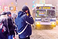 MTA M7 bus, public transportation, mass transit,Times Square during January 2, 2014 winter storm, 42nd Street vicinity, Times Square, Midtown Manhatta...
