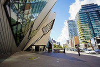 Royal Ontario Museum and Bloor Street in Toronto, Ontario, Canada.