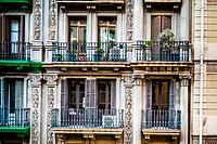 Balconies on Calle Gravina, Barcelona, Spain.