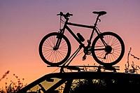 Santa Barbara, Mountain Biking at La Cumbre Peak high in the Santa Ynez Mountains above the city of Santa Barbara in southern California.