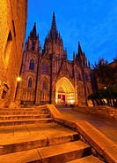 Night view of The Cathedral of the Holy Cross and Saint Eulalia in Barcelona, Catalonia, Spain.