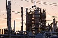 Oil and gas refinery at sunset, Montreal, Quebec, Canada.