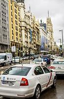 View of a traffic jam in Gran Via, Madrid city, Spain.