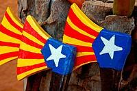 Wooden axes, toys, Catalan flag