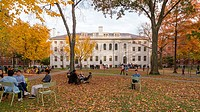 Harvard Yard, old heart of Harvard University campus, on a beautiful Fall day in Cambridge, Massachusetts, USA