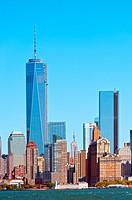 Skyline of south Manhattan with One and Four World Trade Center, New York, USA.