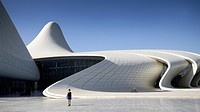 Heydar Aliyev cultural center futuristic monument designed by the architect Zaha Hadid. Azerbaijan, Baku. Model Released.