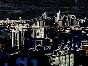 dark manipulated view of Sydney skyline and high rise buildings.