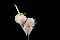 Ice cream in glass stemwares.