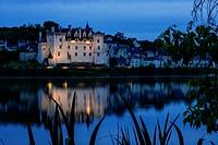 Château of Montsoreau, was built on the Loire in 1455, at the confluence of the Loire and Vienne rivers. Montsoreau, Maine-et-Loire, Pays de la Loire ...