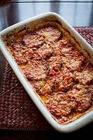 eggplant parmesan in a casserole dish.