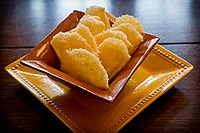 parmesan cheese rind puffs - appetizer snack.