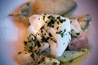 Skrei, cod with artichokes.