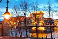 Chain bridge over Danube river at Budapest at night.