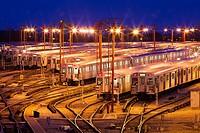 The Greenwood Subway Yards seen at dusk. Toronto, Ontario, Canada.