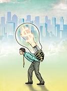 Illustrative image of businessman carrying light bulb with dollar symbol representing profit.