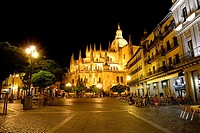 St. Mary's Cathedral and Plaza Mayor of Segovia, Castilla Leon, Spain.