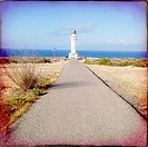 Barbaria Cape Lighthouse in formentera Balearic island in Mediterranean.