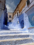 Houses in the blue medina of Chefchaouen. Rif region, Morocco