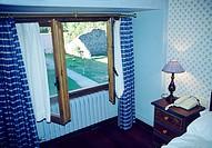 Open window of room in a rural house. La Rioja, Spain.