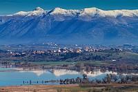 Vouno village over Taka lake. Tegea, Arcadia, Peloponnese.