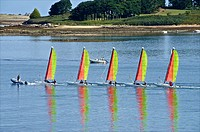 Sail boats, sailing school, Aber´Wrach, Abers region, Brittany, Finistere 29, France.