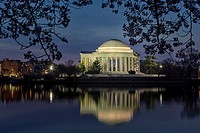 Thomas Jefferson Memorial Washington DC - A view to the Thomas Jefferson Memorial from the Tidal Basin in Washington DC during the early morning twili...
