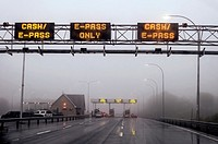 Approaching a toll booth in fog and mist, Nova Scotia, Canada