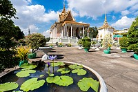 Blue Egyptian Water Lily or Sacred Blue Lily (Nymphaea caerulea) and Silver Pagoda. The Silver Pagoda´s proper name is Wat Preah Keo Morokat, which me...