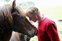 Caucasian man leaning towards the head of an Icelandic horse, Attenbach, Bergneustadt, North Rhine-Westphalia, Germany, Europe.