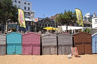 Beach Huts at Viking Bay Beach Broadstairs Kent.