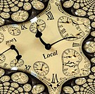 The image is obtained from a photograph of a clock, processed with a fractal generator and divided into two parts, so that the print can be mounted se...