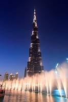 One of the world biggest musical fountain, in front of the Burj Khalifa, display just after sunset.