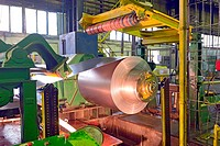 steel coil processing machine inside of steel plant.