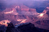 A Misty Winter View of the Grand Canyon.