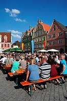 Visitors to the fishing festival in Memmingen, Germany