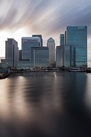 Winter evening at Canary Wharf, London, England.