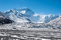 North Face of Mt Everest (Qomolangma) from the Base Camp at 5200 metres, Tibet, China.