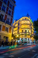 Fuencarral street, night view. Madrid, Spain.