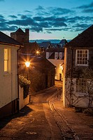 Night falls on Chapel Hill, Lewes, East Sussex, England, United Kingdom.
