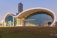Kaohsiung, Taiwan: The newly opened Kaohsiung Exhibition Center and the 85 Building on background.