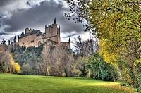Alcázar viewed from La Fuencisla,  Segovia, Castile-Leon, Spain.