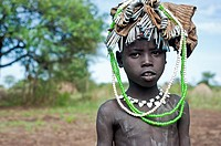 Child belonging to the Mursi tribe. Omo valley ( Ethiopia).