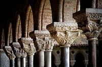 Pillars of the cloister. France, Tarn et Garonne, Moissac, a stop on el Camino de Santiago, Saint-Pierre Benedictine Abbey of the 11th-17th century li...