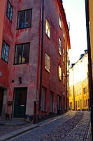 Alley in the historic quarter of Stockholm, Gamla Stan.