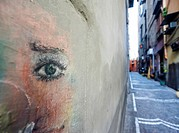 eye painted on a wall, Naples, Italy