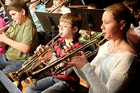 Trumpet Players, Middle School Band, Wellsville, New York, United States.