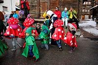 Switzerland, Valais, Val d´Herens, village of Evolene, Carnaval.